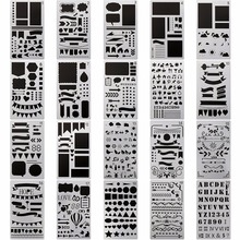NP-5 20 Pack 4x7 Inch Drawing Template Stencil, Journaling/Scrapbooking/Notebook/Diary/Card/Art Kids Stencil Set