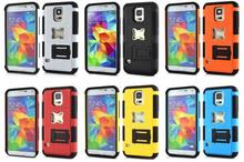 Dual-layer Bottle Opener Design Silicone & PC Hybrid Kickstand Case for Samsung S5 I9600 G900 with Stand (Black)