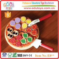 Wooden Educational Kitchen Toys Kids Role Play Set Cut Wooden Pizza