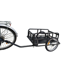 Folding Bicycle Bike Cargo Storage Cart and Luggage Trailer with Hitch - Black