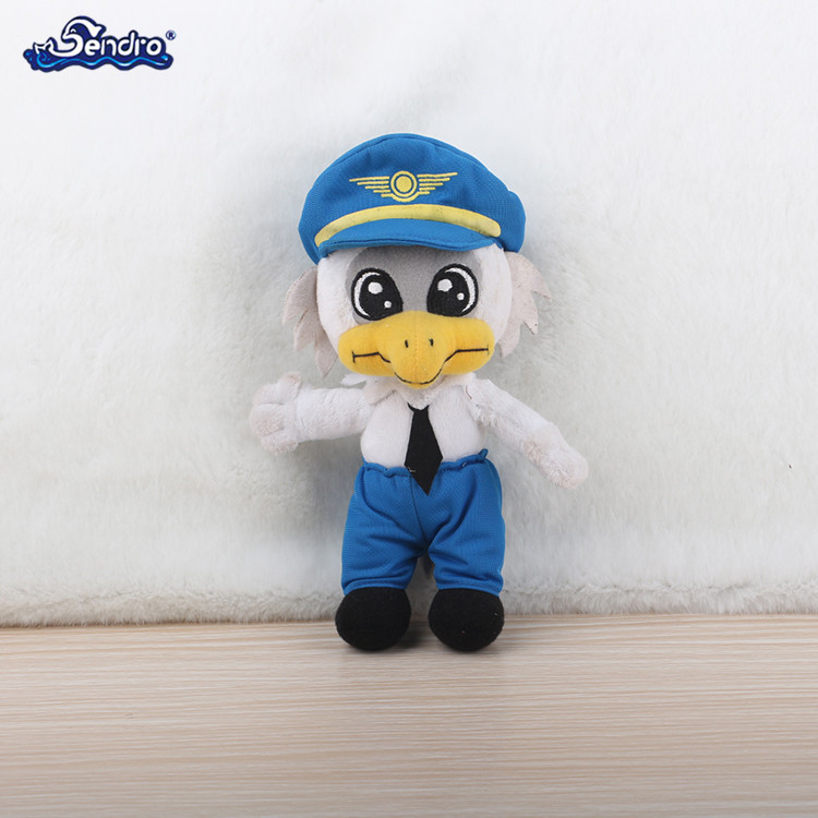 creative design plush stuffed cartoon police bird mascot plush toy with uniform