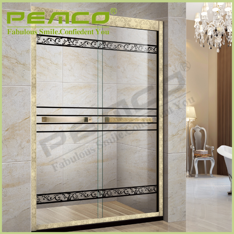 Modern rectanglar 304 Stainless Steel glass bath sliding shower screen