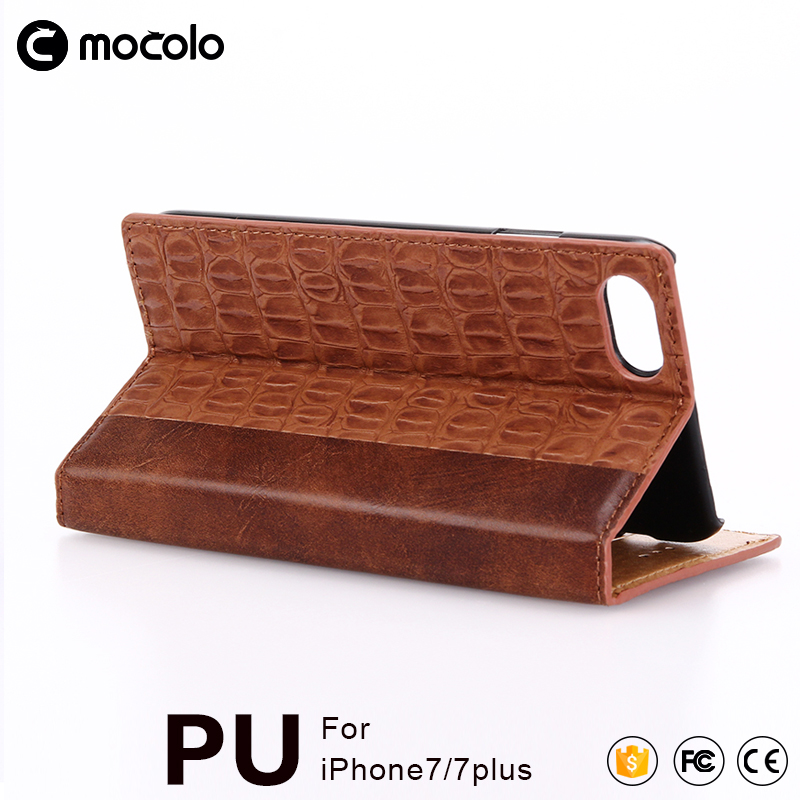 2017 Top quality crocodile Stripe leather Cover Case with Retail Packaging for iPhone 7/7s/7 plus leather Cover