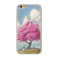 Soft Silicon Transparent Pink Tree View custom phone cases for Phone Creative Phone Case Cover For iPhone 4 4S Case CEUVP