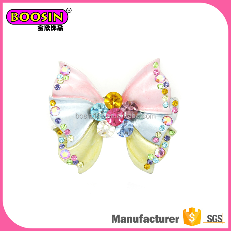 Magnetic Bow Tie Shape Enamel Brooch Pin Jewelry with Rhinestone