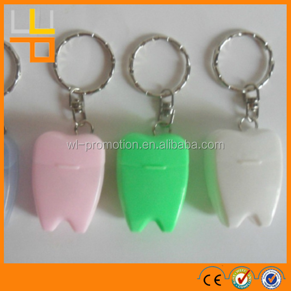 High quality Teeth Shape Dental Floss/Colorful Key Chain tooth shaped dental floss