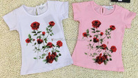 Fashionable 2016 Kids Dress Child Dress Baby T-shirt Rose Printing Of Summer Dresses Children T-shirt Girl Clothes