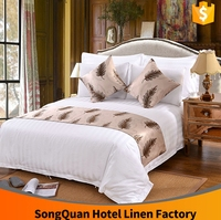 Alibaba supplier hotel cotton double size bed sheet set/China made 5 star hotel spanish style bedding