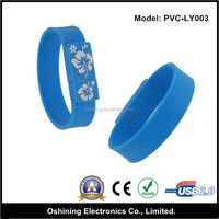 low costs flower printing silicone bracelet usb flash drive (USB-LY003)