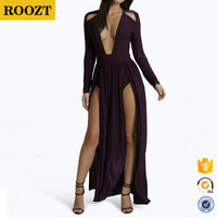 Sexy Fashion long sleeves women fashionable evening sexy maxed black girls party dress