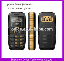 Quad band Power Bank Phone ADMET B30 5000mAh Dual Sim waterproof outlooking Senior Phone with FM B30 Small moq !