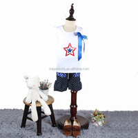 4th Of July Patriotic Sparkle Star Applique Tee T Shirt and Polka Dot Denim Short Outfit