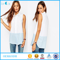 Women Office Uniform Designs Casual Plain Sleeveless Blouse