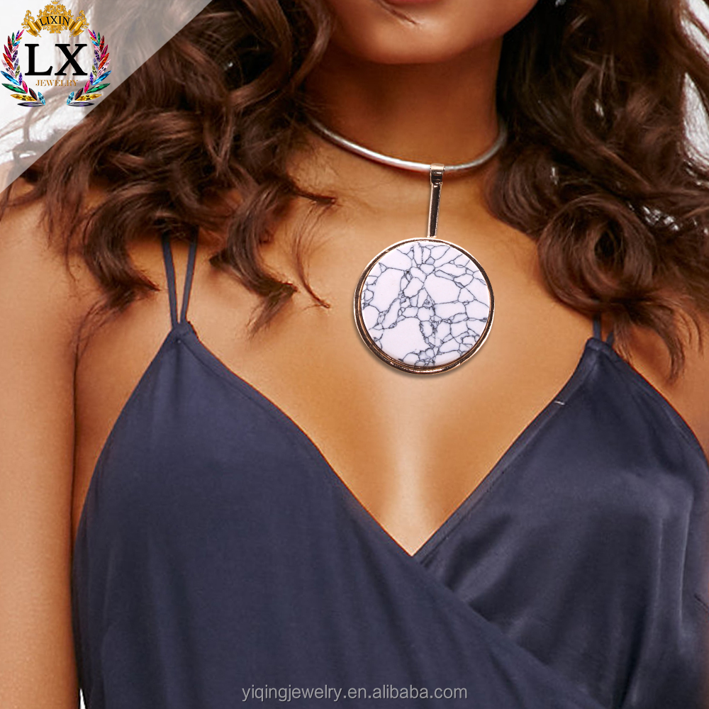 NLX-00188 michigan charms elegant round unique white natural turquoise gold collar personalized necklace for women