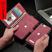 New Leather Multi-function Flip Cover Retro Folded Detachable Wallet Cell Phone Case For Iphone 7 Plus