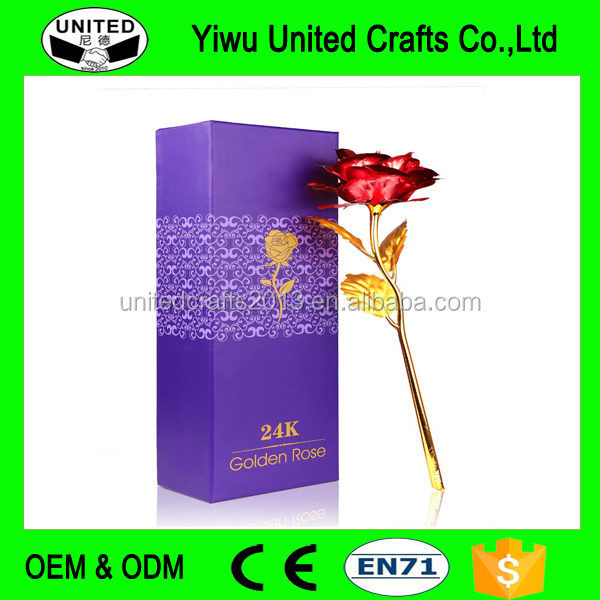 24K Gold Red Plated Rose Flower Creative Romantic Gift For 2017 Valentine's Day