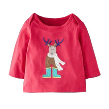 Wholesale baby girls cotton red christmas deer tops t - shirt kids clothing