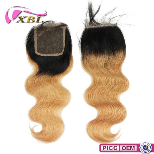 XBL New Arrival 7A Ombre Body Wave Virgin Peruvian Wavy Hair Top Closure