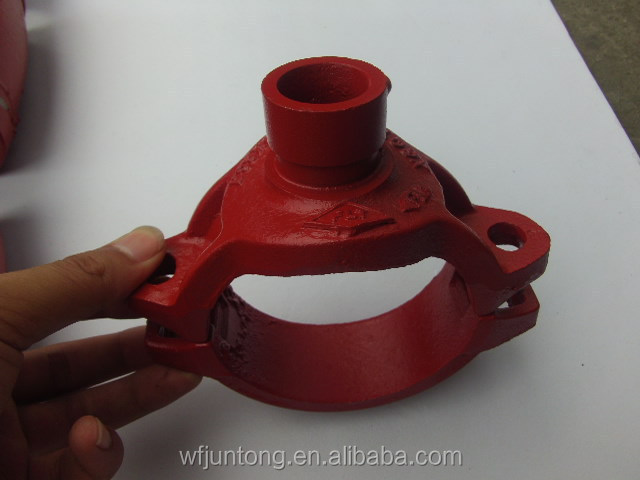 UL FM CE approval ductile iron grooved pipe fittings and couplings threaded/grooved mechanical tee groove outlet