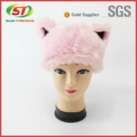 Pink Color cute animal plush sheep hat, faux fur adult animal winter hat