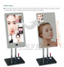 Fashion Design,use for Cosmetic/jewelry counter,Interactive 13.3 inch standing magic mirror lcd