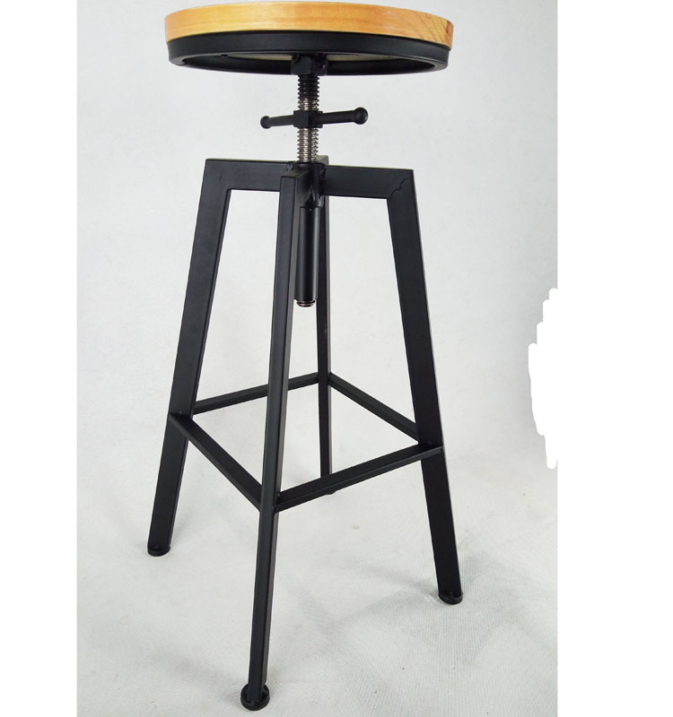 Factory direct sales American style solid wooden classic metal high iron bar stools