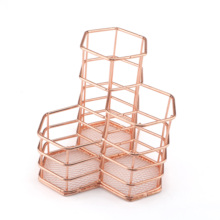 Rose Gold Wire Mesh Pen Holder Makeup Brush Holder For Office Home School