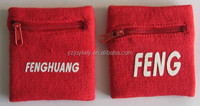 high quality sport cotton wristband with zipper pocket