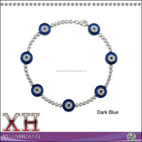 14K White Gold Plated Silver 925 Sappires Evil Eye Bracelet