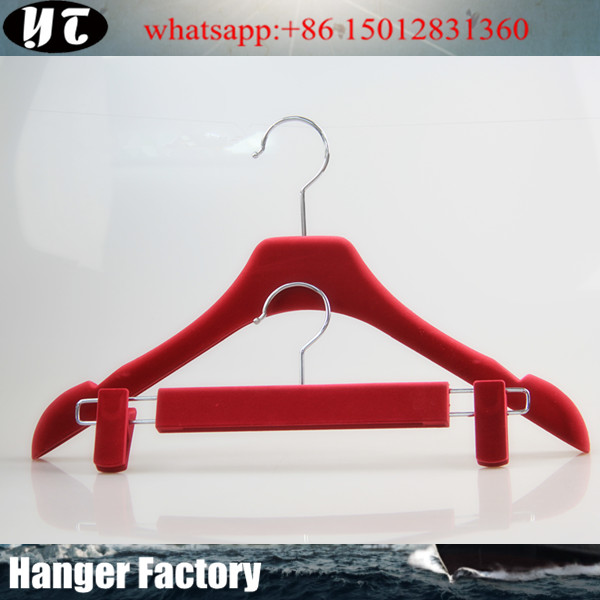 YT anti-slip velvet coat hanger metal hook clothes hanger