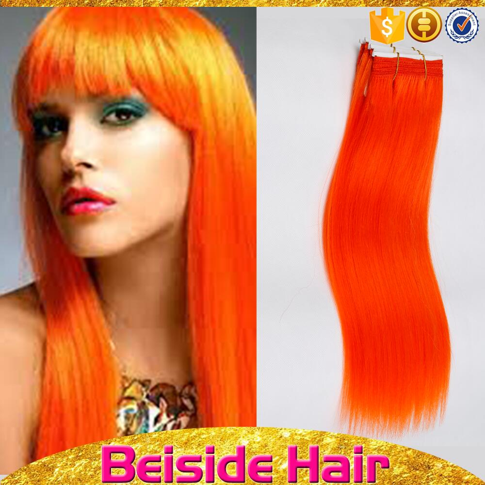 Straight weave hairstyles natural hair ombre orange hair extension