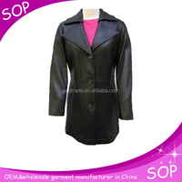 china wholesale european style long winter leather coats women