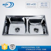Moulded Stainless Steel High End Table Top Double Bowl Washing Basin Sink Foshan Factory
