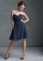 HB2004 Hot sale crystal beaded sweetheart neckline strapless knee length cheap sexy zipper chiffon bridesmaid dresses