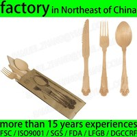 Disposable Wooden Cutlery Set Knife Fork Spoon Napkin Salt Pepper Toothpick For Take Out