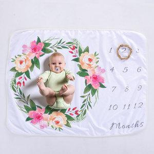 Newborn Baby Cute Soft Touch Polar Fleece Monthly Milestone Blanket Products