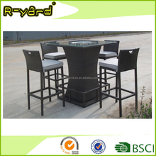 All weather rattan wicker outdoor terrace bar furniture with ice bucket