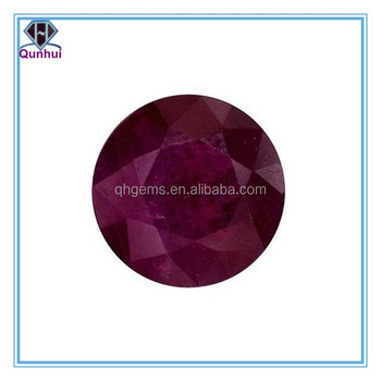 elegant dark red round shaped faceted cz stone
