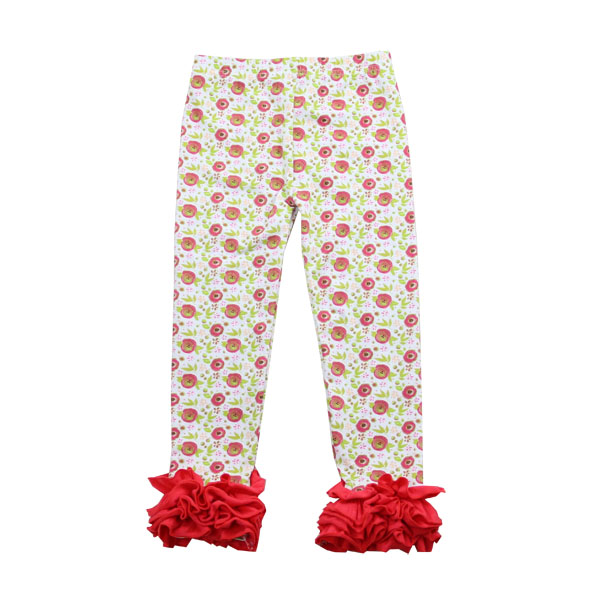China wholesale children clothing icing ruffle boutique spring flower pants girls pants