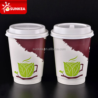 Double wall logo printed disposable 12 oz paper coffee cups with lids
