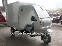 Cabin driving three wheel motor tricycle with closed cargo box