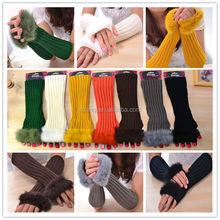 2015 Wholesale All Colors Knit Fur Fingerless Gloves for Women