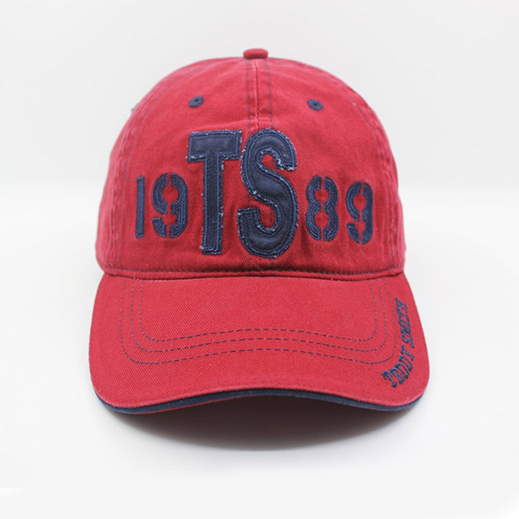 TEDDY SNITH applique washed red racing sports cap simply fashion baseball cap