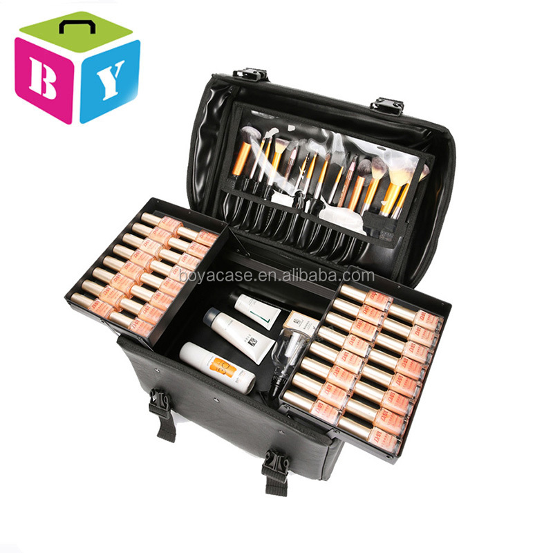 2017 professional trolley rolling PU soft makeup cosmetic case on 4 universal wheels for makeup artist