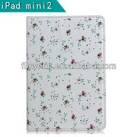 FL320 hot selling Flowers series stand wallet leather case for ipad mini 2