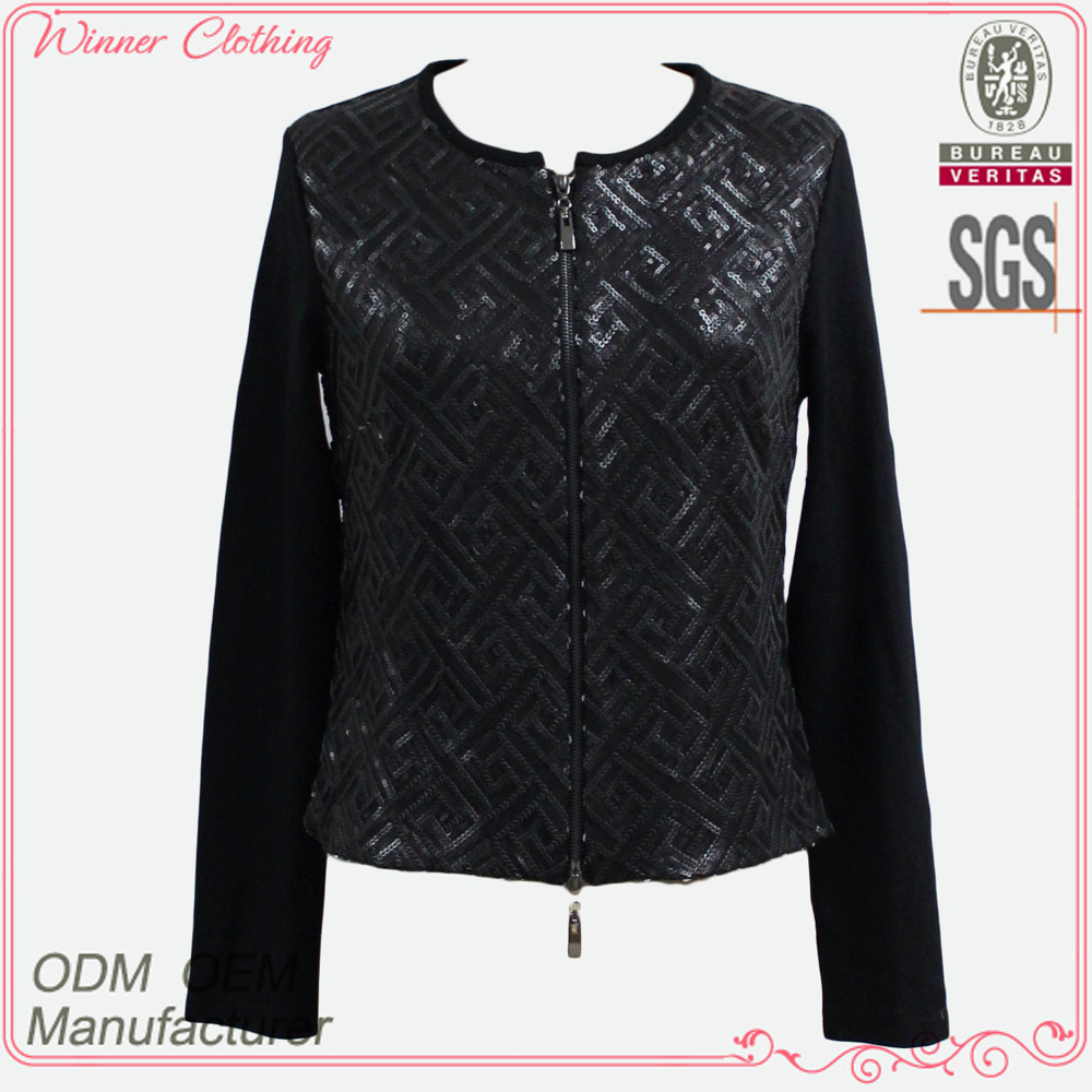 rounded neckline long sleeve sequin front double zipper jacket black