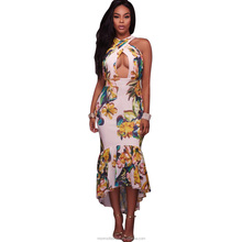 monroo cross open chest sexy package hip long dresses printed draped african traditional print dashiki dress african clothing