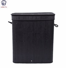 Collapsible Double Black Bamboo Laundry Hamper Basket with Lid and Cloth Liner