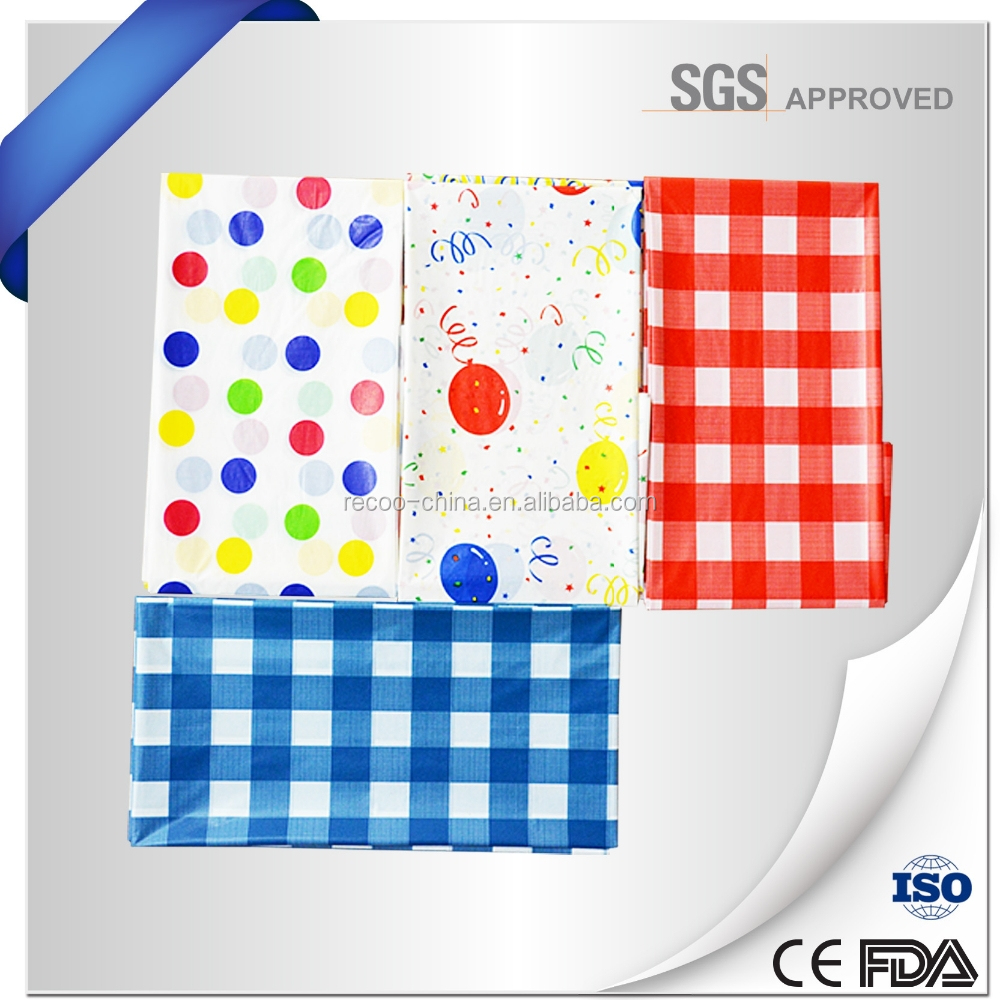 Eco-Friendly Birthday party plastic tablecloth/printed plastic table cover PE/PEVA printed tablecloth