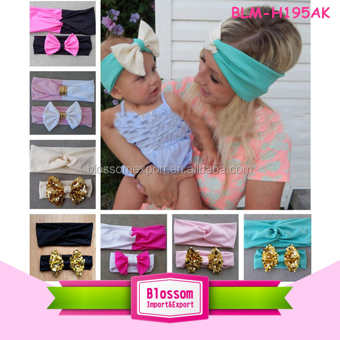 High Quality Girls Baby Infant Elastic Knotted Headwraps Sequin Bow Baby Mermaid Headband